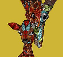 giraffe love ochre by Sharon Turner