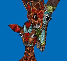 giraffe love blue by Sharon Turner