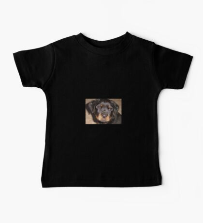 Adorable Rottweiler Puppy Making Eye Contact Baby Tee