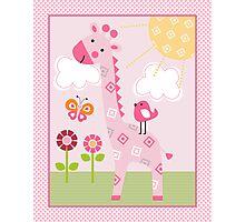 Sunshine Safari Pink Giraffe with bird and flowers Photographic Print