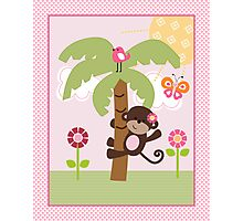 Sunshine Safari Monkey on Palm Tree Nursery Art Photographic Print