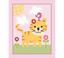 Sunshine Safari Tiger with bird and flowers Photographic Print