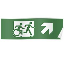 Accessible Means of Egress Icon and Running Man Emergency Exit Sign, Right Hand Diagonally Up Arrow Poster