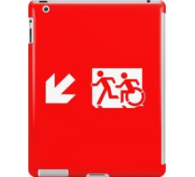 Accessible Means of Egress Icon and Running Man Emergency Exit Sign, Left Hand Diagonally Down Arrow iPad Case/Skin