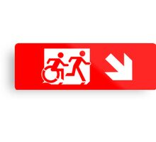 Accessible Means of Egress Icon and Running Man Emergency Exit Sign, Right Hand Diagonally Down Arrow Metal Print