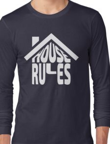 House Rules [Beer Pong Shirt] White Ink Long Sleeve T-Shirt