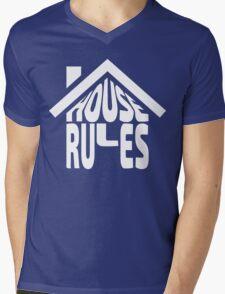 House Rules [Beer Pong Shirt] White Ink Mens V-Neck T-Shirt