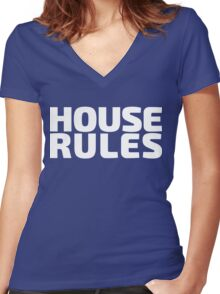 House Rules [Beer Pong Shirt] White Ink Women's Fitted V-Neck T-Shirt