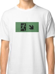 Running Man Emergency Exit Sign, Right Hand Diagonally Down Arrow Classic T-Shirt
