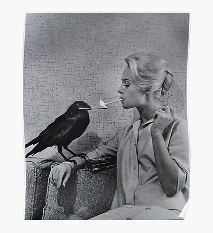 Tippi Hedren having her cigarette lit by a crow on the set of The Birds Poster