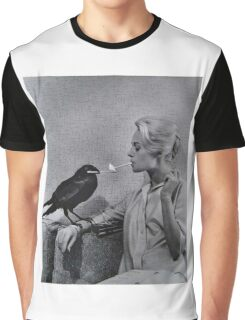 Tippi Hedren having her cigarette lit by a crow on the set of The Birds Graphic T-Shirt