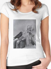 Tippi Hedren having her cigarette lit by a crow on the set of The Birds Women's Fitted Scoop T-Shirt