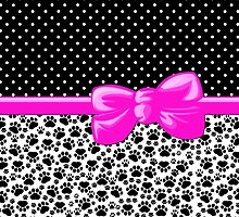 Dog Paws, Traces, Polka Dots -  Ribbon, Bow - White Black Pink by sitnica
