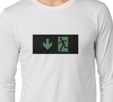 Running Man Emergency Exit Sign, Left Hand Down Arrow Long Sleeve T-Shirt