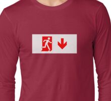 Running Man Emergency Exit Sign, Right Hand Down Arrow Long Sleeve T-Shirt