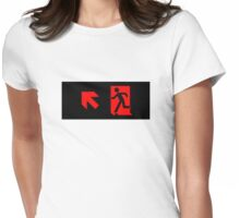 Running Man Emergency Exit Sign, Left Hand Diagonally Up Arrow Womens Fitted T-Shirt