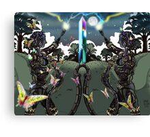 Robot Statues and Butterflies Canvas Print