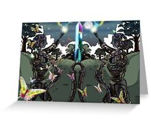 Robot Statues and Butterflies Greeting Card