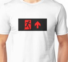 Running Man Emergency Exit Sign, Right Hand Up Arrow Unisex T-Shirt