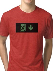Running Man Emergency Exit Sign, Right Hand Down Arrow Tri-blend T-Shirt