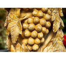 Grapes Wood Carving Photography Photographic Print