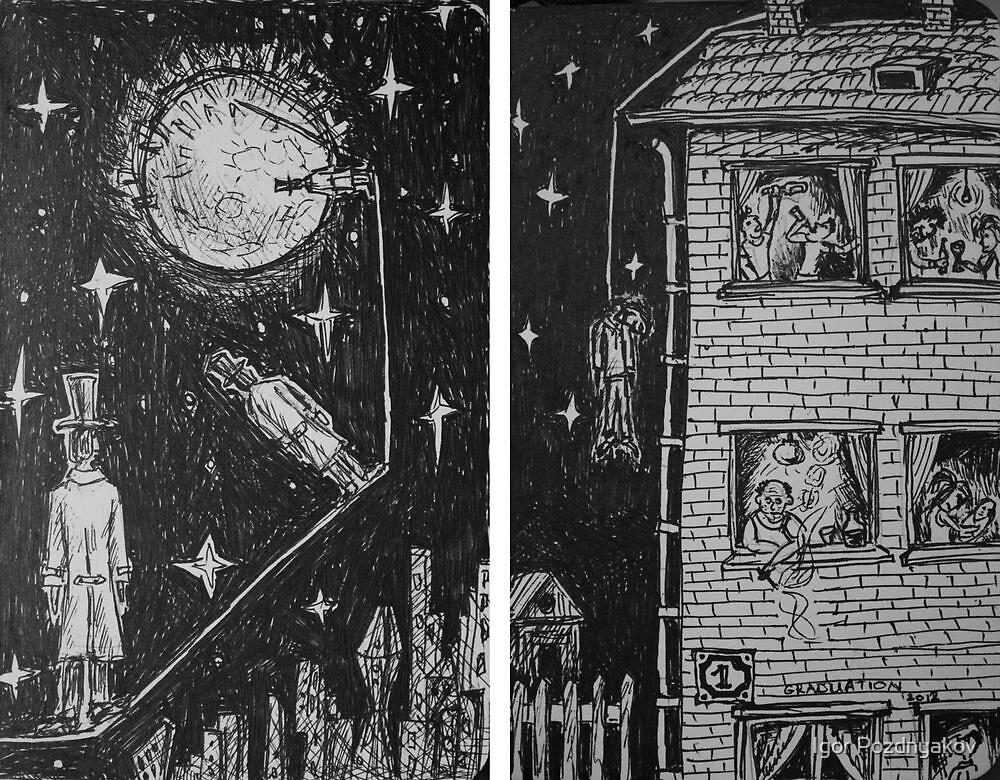 Ink Sketches - Three Lunatics and Graduation. 2012 by Igor Pozdnyakov