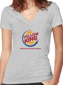 Yellow King Grilled Rust Logo Women's Fitted V-Neck T-Shirt