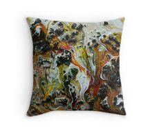 Pouring Medium and Charcole Throw Pillow