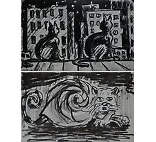 """Ink Sketches - """"Night View"""" and """"Snail Cat"""" Photographic Print"""