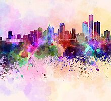Detroit skyline in watercolor background by Pablo Romero