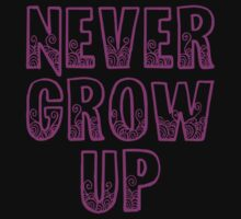 Never Grow Up (purple) One Piece - Short Sleeve