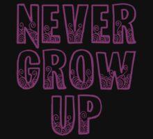 Never Grow Up (purple) Baby Tee