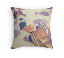 Paintbrushes and Paint Throw Pillow
