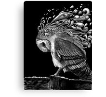 Owl in Black Canvas Print