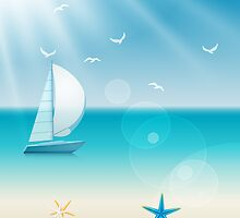 Cheerful Beach Sea Sailboat Scene by Makanahele