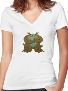 Green Man Women's Fitted V-Neck T-Shirt