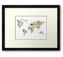 Cartoon animal world map on white background Framed Print