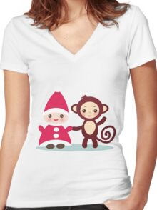 gnome and monkey  Women's Fitted V-Neck T-Shirt