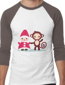 gnome and monkey  Men's Baseball ¾ T-Shirt