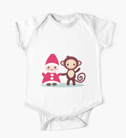 gnome and monkey  One Piece - Short Sleeve