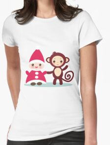 gnome and monkey  Womens Fitted T-Shirt