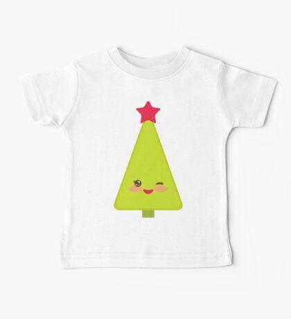 Happy New Year card. Christmas tree  Baby Tee