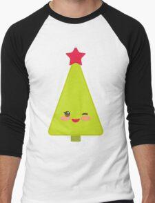 Happy New Year card. Christmas tree  Men's Baseball ¾ T-Shirt