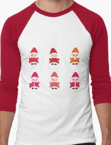 Merry Christmas, Happy New Year card, Funny gnomes Men's Baseball ¾ T-Shirt
