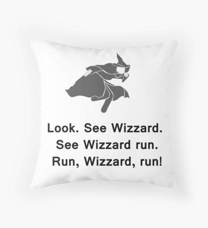 Miscellaneous - run, wizzard, run - gray Throw Pillow