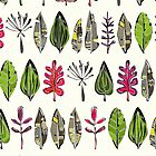 leaves and feathers (card) by Sharon Turner