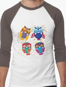 owls on blue background Men's Baseball ¾ T-Shirt