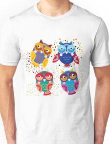 owls on blue background Unisex T-Shirt