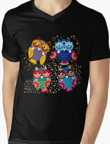 owls on blue background T-Shirt