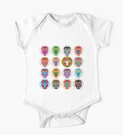 funny colorful owls One Piece - Short Sleeve